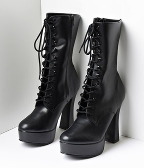 Unique Vintage Black Faux Leather Lace Up Platform Ankle Boots