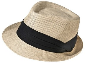 Merona Women's Straw Fedora Hat with Black Sash - Natural