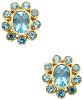 Amrapali Women's 18K Yellow Gold & Blue Topaz Stud Earrings