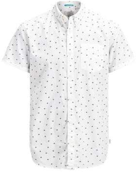 Jack and Jones Slim-Fit Printed Short-Sleeve Shirt