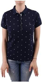 Sun 68 Women's Blue Cotton Polo Shirt.