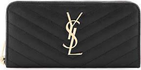 Saint Laurent Monogram quilted leather zip-around purse - NERO - STYLE