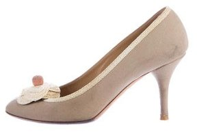Chanel Canvas Camellia Pumps