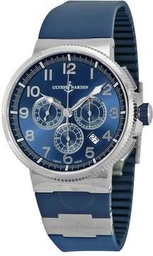 Ulysse Nardin Marine Chronograph Metallic Blue Dial Blue Rubber Men's Watch