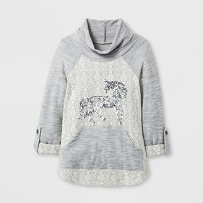 Miss Chievous Girls' Hooded Cowl Neck Pullover With Sequin Unicorn