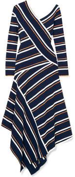 Cédric Charlier Asymmetric Striped Metallic Knitted Midi Dress - Navy