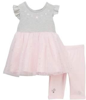 Little Me Star Dress & Leggings Set (Baby Girls)