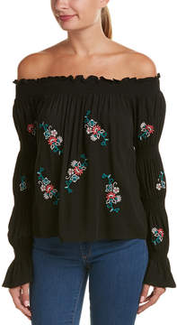 Flying Tomato Embroidered Off-The-Shoulder Top