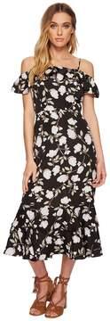 J.o.a. Floral Printed Cold Shoulder Dress with Tiered Hem Women's Dress