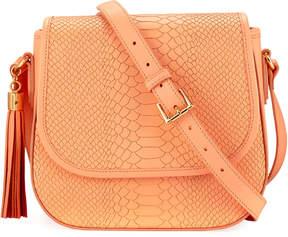 GiGi New York Kelly Snake-Embossed Saddle Bag, Orange