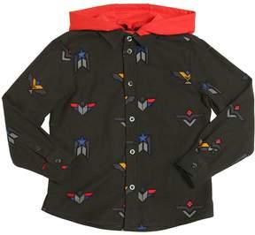 Armani Junior Printed Cotton Flannel Shirt W/ Hood