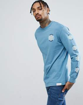 Diamond Supply Co. Long Sleeve T-Shirt With Spiral Sleeve Print in Gray