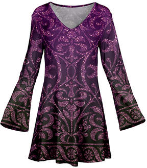 Azalea Purple & Lavender Floral Flare-Sleeve Tunic - Women & Plus
