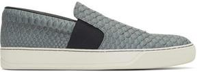 Lanvin Grey Python Slip-On Sneakers