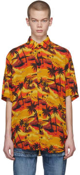Balenciaga Orange Norm Fit Hawaiian Shirt