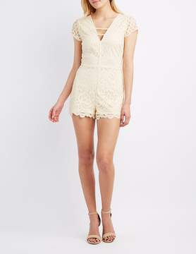 Charlotte Russe Caged Lace Romper