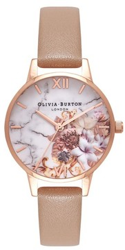 Olivia Burton Women's Marble Floral Leather Strap Watch, 30Mm
