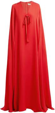Elie Saab Cape-sleeve silk-crepe gown