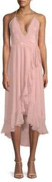 Dress the Population Gia Rosep Wrap Hi-Lo Halter Dress