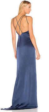 Halston High Neck Gown With Back Drape