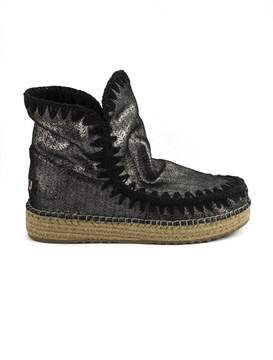 Mou Eskimo18 In Grey Perforated Suede Leather.