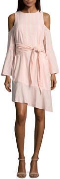 BELLE + SKY Long Sleeve Cold Shoulder Tie Waist Dress
