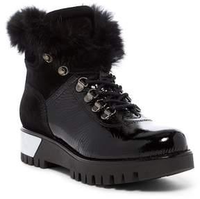 Manas Design Fur Trimmed Patent Boot