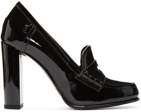 Saint Laurent Black Patent Université Loafer Heels