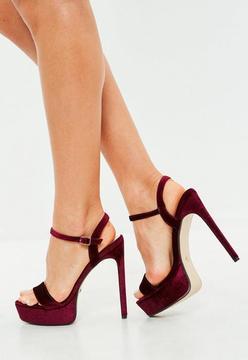 Missguided Burgundy Velvet Platform Heeled Sandals