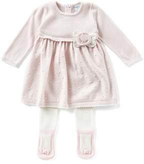 Edgehill Collection Baby Girls Newborn-6 Months Flower-Applique Sweater Dress & Tights Set
