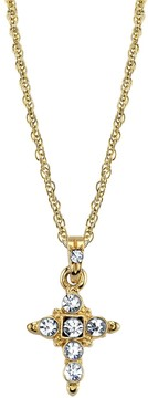 1928 14k Gold-Plated Crystal Cross Pendant Necklace