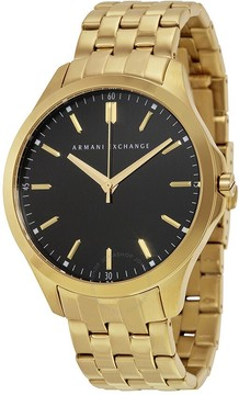 Armani Exchange Black Dial Gold-plated Men's Watch
