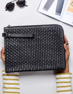 Asos Leather Document Holder With Woven Design