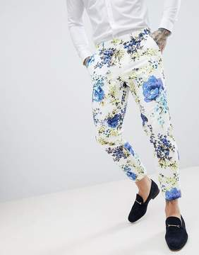 Asos DESIGN Wedding Skinny Crop Suit Pants In White Cotton Floral Print