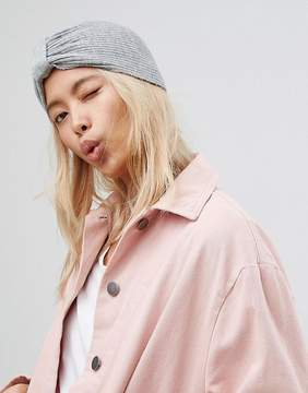 Asos New Rib Basic Knot Front Hat In Gray