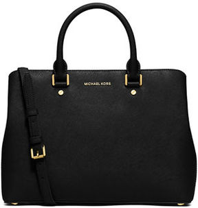 MICHAEL Michael Kors Savannah Large Saffiano Satchel Bag - BLACK - STYLE