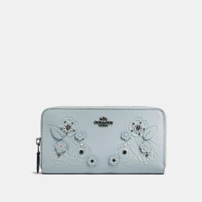 COACH Coach Accordion Zip Wallet With Tea Rose And Tooling - DARK GUNMETAL/PALE BLUE - STYLE