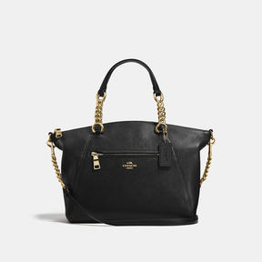 COACH Coach Chain Prairie Satchel In Polished Pebble Leather - LIGHT GOLD/BLACK - STYLE