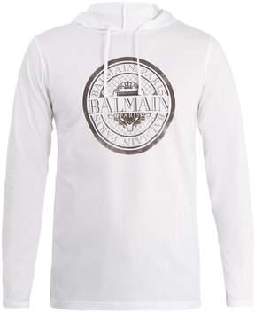 Balmain Logo-print cotton-jersey hooded top
