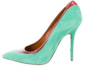 Malone Souliers Lizard-Trimmed Suede Pumps