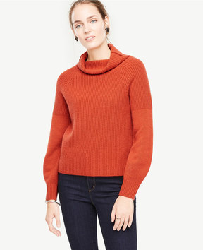 Ann Taylor Cashmere Ribbed Turtleneck Sweater