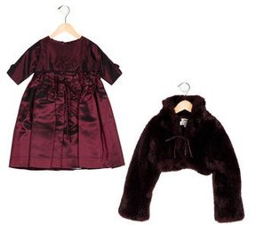 Helena Girls' Faux Fur A-Line Dress Set