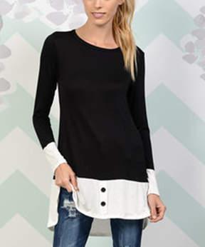 Celeste Black & White Color Block Hi-Low Tunic - Women