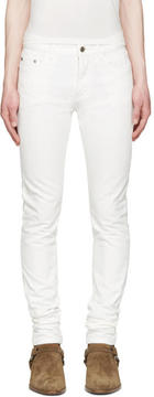 Saint Laurent White Original Low Waisted Skinny Jeans