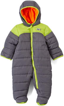 Weatherproof Charcoal & Lime Hooded Snowsuit - Infant