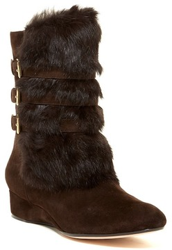 Taryn Rose Genuine Rabbit Fur Wedge Boot