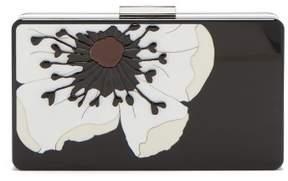 Valentino Flower Embellished Plexiglass Minaudiere Clutch - Womens - Black White