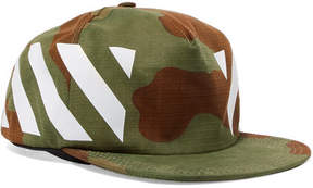 Off-White Printed Cotton Baseball Cap - Green