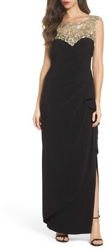 Alex Evenings Women's Embroidered Side Ruched Gown