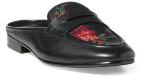 Ralph Lauren Ashlyn Embroidered Mule Loafer Black 10